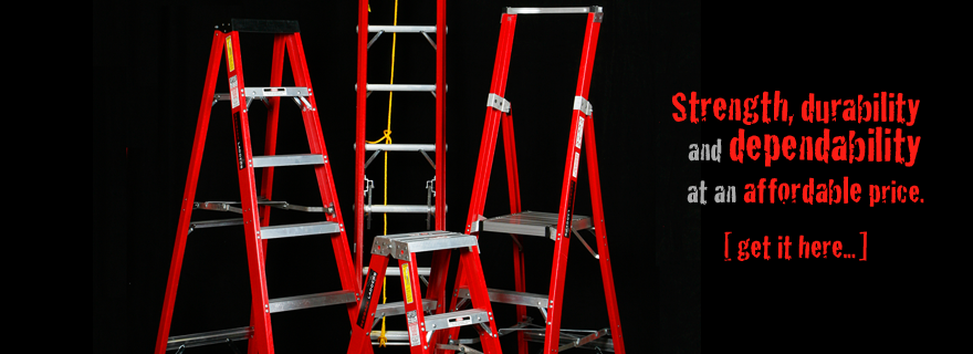 Fibreglass Heavy Duty Single Sided Step and Extension Ladders